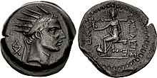 Coin with Antiochus IV likeness on the obverse and the statue of a seated deity on the reverse