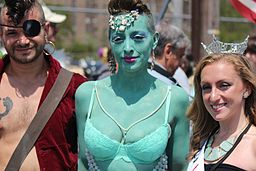 Green woman with Pirate and Princess at Coney Island Mermaid Parade 2013