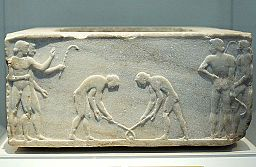 "Relief pentelic marble ""Ball Players"" 510-500 BC, NAMA 3476 102587"