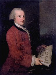 Portrait of a young man, at three-quarter length. He wears a red coat, with lace at the wrists. He holds an architectural plan. His hair is receding.