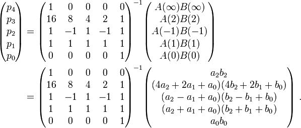 \begin{align}\begin{pmatrix}   p_4 \\   p_3 \\   p_2 \\   p_1 \\   p_0 \end{pmatrix}&=\begin{pmatrix}    1 &  0 & 0 &  0 & 0 \\   16 &  8 & 4 &  2 & 1 \\    1 & -1 & 1 & -1 & 1 \\    1 &  1 & 1 &  1 & 1 \\    0 &  0 & 0 &  0 & 1 \end{pmatrix}^{-1} \begin{pmatrix}   A(\infty)B(\infty) \\   A( 2)B( 2)         \\   A(-1)B(-1)         \\   A( 1)B( 1)         \\   A( 0)B( 0) \end{pmatrix}\\&=\begin{pmatrix}    1 &  0 & 0 &  0 & 0 \\   16 &  8 & 4 &  2 & 1 \\    1 & -1 & 1 & -1 & 1 \\    1 &  1 & 1 &  1 & 1 \\    0 &  0 & 0 &  0 & 1 \end{pmatrix}^{-1} \begin{pmatrix}   a_2b_2                         \\   (4a_2+2a_1+a_0)(4b_2+2b_1+b_0) \\   (a_2-a_1+a_0)(b_2-b_1+b_0)     \\   (a_2+a_1+a_0)(b_2+b_1+b_0)     \\   a_0b_0 \end{pmatrix}~.\end{align}