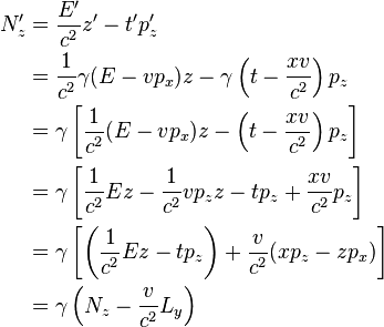 \begin{align} N_z' & =\frac{E'}{c^2}z'-t'p_z'\\  & =\frac{1}{c^2}\gamma(E-vp_x)z-\gamma\left(t-\frac{xv}{c^2}\right)p_z\\  & =\gamma\left[\frac{1}{c^2}(E-vp_x)z-\left(t-\frac{xv}{c^2}\right)p_z\right]\\  & =\gamma\left[\frac{1}{c^2}Ez-\frac{1}{c^2}vp_zz-tp_z+\frac{xv}{c^2}p_z\right]\\  & =\gamma\left[\left(\frac{1}{c^2}Ez-tp_z\right)+\frac{v}{c^2}(xp_z-zp_x)\right]\\  & =\gamma\left(N_z-\frac{v}{c^2}L_y\right) \end{align}