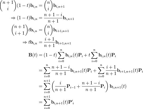 \begin{align}   {n + 1 \choose i}(1 - t)\mathbf{b}_{i, n} &= {n \choose i} \mathbf{b}_{i, n + 1} \\        \Rightarrow (1 - t)\mathbf{b}_{i, n} &= \frac{n + 1 - i}{n + 1} \mathbf{b}_{i, n + 1} \\    {n + 1 \choose i + 1} t\mathbf{b}_{i, n} &= {n \choose i} \mathbf{b}_{i + 1, n + 1} \\              \Rightarrow t\mathbf{b}_{i, n} &= \frac{i + 1}{n + 1} \mathbf{b}_{i + 1, n + 1} \\    \mathbf{B}(t) &= (1 - t)\sum_{i=0}^n \mathbf{b}_{i, n}(t)\mathbf{P}_i                    + t\sum_{i=0}^n \mathbf{b}_{i, n}(t)\mathbf{P}_i \\                 &= \sum_{i=0}^n \frac{n + 1 - i}{n + 1}\mathbf{b}_{i, n + 1}(t)\mathbf{P}_i                    + \sum_{i=0}^n \frac{i + 1}{n + 1}\mathbf{b}_{i + 1, n + 1}(t)\mathbf{P}_i \\                 &= \sum_{i=0}^{n + 1} \left(\frac{i}{n + 1}\mathbf{P}_{i - 1}                    + \frac{n + 1 - i}{n + 1}\mathbf{P}_i\right) \mathbf{b}_{i, n + 1}(t) \\                 &= \sum_{i=0}^{n + 1} \mathbf{b}_{i, n + 1}(t)\mathbf{P'}_i \end{align}