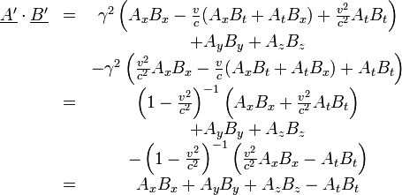 \begin{matrix} \underline{A'} \cdot \underline{B'} & = &  \gamma^2 \left( A_x B_x -\frac{v}{c} (A_x B_t + A_t B_x) + \frac{v^2}{c^2} A_t B_t \right) \\  & & +  A_y B_y + A_z B_z &\\  & & - \gamma^2 \left( \frac{v^2}{c^2}A_x B_x -\frac{v}{c} (A_x B_t + A_t B_x) + A_t B_t \right) \\  & = & \left(1- \frac{v^2}{c^2} \right)^{-1} \left( A_x B_x  + \frac{v^2}{c^2} A_t B_t \right) \\ & & +  A_y B_y + A_z B_z \\   & & - \left(1- \frac{v^2}{c^2} \right)^{-1} \left( \frac{v^2}{c^2} A_x B_x  - A_t B_t \right) \\  & = & A_x B_x  +  A_y B_y + A_z B_z   - A_t B_t  \end{matrix}