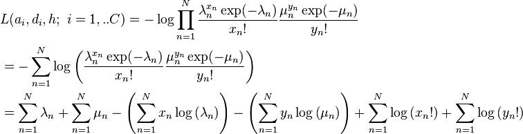 \begin{align}  & L(a_{i},d_{i},h;