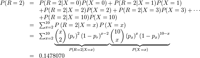 \begin{array}{rcl} P(R = 2) &=& P(R = 2 | X = 0)P(X=0) + P(R = 2 | X = 1)P(X = 1) \           && + P(R = 2 | X = 2)P(X=2) + P(R=2 | X = 3)P(X=3) + \cdots \           && + P(R = 2 | X = 10) P(X=10) \  &=& \sum_{x=2}^{10} P\left(R = 2 | X = x\right) P\left( X = x\right) \  &=& \sum_{x=2}^{10} \underbrace{\binom{x}{2}\left(p_r\right)^2\left(1 - p_r\right)^{x-2}}_{P(R=2|X=x)} \underbrace{\binom{10}{x} \left(p_x\right)^x\left(1-p_x\right)^{10-x}}_{P(X = x)} \  &=& 0.1478070 \end{array}