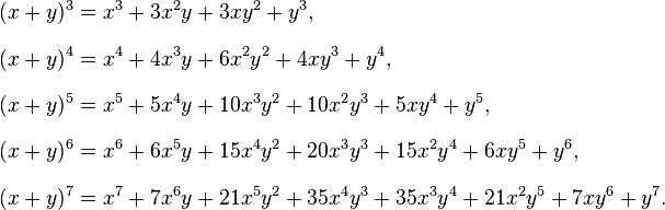 \begin{align}  \\[8pt] (x+y)^3 & = x^3 + 3x^2y + 3xy^2 + y^3, \\[8pt] (x+y)^4 & = x^4 + 4x^3y + 6x^2y^2 + 4xy^3 + y^4, \\[8pt] (x+y)^5 & = x^5 + 5x^4y + 10x^3y^2 + 10x^2y^3 + 5xy^4 + y^5, \\[8pt] (x+y)^6 & = x^6 + 6x^5y + 15x^4y^2 + 20x^3y^3 + 15x^2y^4 + 6xy^5 + y^6, \\[8pt] (x+y)^7 & = x^7 + 7x^6y + 21x^5y^2 + 35x^4y^3 + 35x^3y^4 + 21x^2y^5 + 7xy^6 + y^7. \end{align}