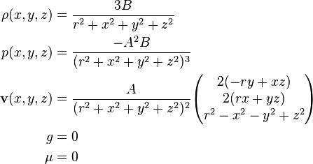 \begin{align}         \rho(x, y, z) &= \frac{3B}{r^2 + x^2 + y^2 + z^2} \\            p(x, y, z) &= \frac{-A^2B}{(r^2 + x^2 + y^2 + z^2)^3} \\   \mathbf{v}(x, y, z) &= \frac{A}{(r^2 + x^2 + y^2 + z^2)^2}\begin{pmatrix} 2(-ry + xz) \\ 2(rx + yz) \\ r^2 - x^2 - y^2 + z^2 \end{pmatrix} \\                     g &= 0 \\                   \mu &= 0 \end{align}