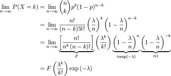 \begin{align}  \lim_{n\to\infty} P(X=k)&=\lim_{n\to\infty}{n \choose k} p^k (1-p)^{n-k} \\  &=\lim_{n\to\infty}{n! \over (n-k)!k!} \left({\lambda \over n}\right)^k \left(1-{\lambda\over n}\right)^{n-k}\\ &=\lim_{n\to\infty} \underbrace{\left[\frac{n!}{n^k\left(n-k\right)!}\right]}_F \left(\frac{\lambda^k}{k!}\right) \underbrace{\left(1-\frac{\lambda}{n}\right)^n}_{\approx\exp\left(-\lambda\right)} \underbrace{\left(1-\frac{\lambda}{n}\right)^{-k}}_{\approx 1} \\ &= F\left(\frac{\lambda^k}{k!}\right)\exp\left(-\lambda\right) \end{align}
