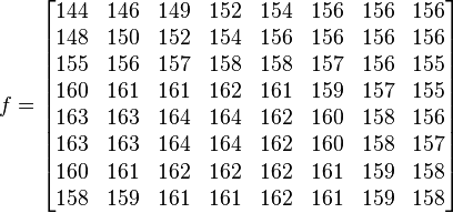 f=\begin{bmatrix} 144 & 146 & 149 & 152 & 154 & 156 & 156 & 156 \\ 148 & 150 & 152 & 154 & 156 & 156 & 156 & 156 \\ 155 & 156 & 157 & 158 & 158 & 157 & 156 & 155 \\ 160 & 161 & 161 & 162 & 161 & 159 & 157 & 155 \\ 163 & 163 & 164 & 164 & 162 & 160 & 158 & 156 \\ 163 & 163 & 164 & 164 & 162 & 160 & 158 & 157 \\ 160 & 161 & 162 & 162 & 162 & 161 & 159 & 158 \\ 158 & 159 & 161 & 161 & 162 & 161 & 159 & 158 \end{bmatrix}