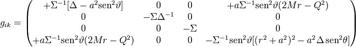 g_{ik}= \left(\begin{matrix} 	+\Sigma^{-1}[\Delta - a^2 \mathrm{sen}^2\vartheta]&0&0&+a\Sigma^{-1}\mathrm{sen}^2\vartheta (2Mr-Q^2)\\ 	0&-\Sigma\Delta^{-1}&0&0\\ 	0&0&-\Sigma&0\\ 	+a\Sigma^{-1}\mathrm{sen}^2\vartheta (2Mr-Q^2)&0&0&-\Sigma^{-1} \mathrm{sen}^2\vartheta [(r^2+a^2)^2- a^2\Delta \, \mathrm{sen}^2\theta] 	\end{matrix}\right)