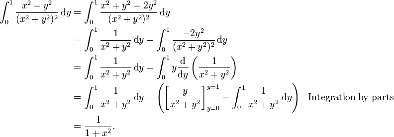 \begin{align} \int_0^1\frac{x^2-y^2}{(x^2+y^2)^2}\,\text{d}y &= \int_0^1 \frac{x^2 + y^2 - 2y^2}{(x^2 + y^2)^2} \, \text{d}y \\ & = \int_0^1 \frac{1}{x^2 + y^2} \, \text{d}y + \int_0^1 \frac{-2y^2}{(x^2 + y^2)^2} \, \text{d}y \\ & = \int_0^1 \frac{1}{x^2 + y^2} \, \text{d}y + \int_0^1 y \frac{\text{d}}{\text{d}y} \left(\frac{1}{x^2 + y^2}\right) \\ & = \int_0^1 \frac{1}{x^2 + y^2} \, \text{d}y + \left(\left[\frac{y}{x^2 + y^2}\right]_{y=0}^{y=1} -\int_0^1 \frac{1}{x^2 + y^2} \,\text{d}y\right) && \text{Integration by parts} \\ & = \frac{1}{1 + x^2}. \end{align}