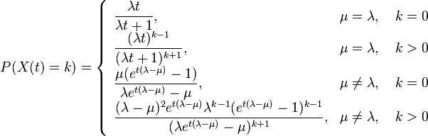P(X(t)=k) = \left\{ \begin{array}{ll} \dfrac{\lambda t}{\lambda t +1}, & \mu = \lambda , \quad k = 0 \\ \dfrac{(\lambda t)^{k-1}}{(\lambda t +1)^{k+1}}, & \mu = \lambda , \quad k > 0 \\ \dfrac{\mu (e^{t(\lambda - \mu)} - 1)}{\lambda e^{t(\lambda - \mu)} - \mu}, & \mu \neq \lambda , \quad k = 0 \\ \dfrac{(\lambda - \mu)^2 e^{t(\lambda - \mu)} \lambda^{k-1}(e^{t(\lambda - \mu)} - 1)^{k - 1}}{(\lambda e^{t(\lambda - \mu)} - \mu)^{k + 1}}, & \mu \neq \lambda , \quad k > 0 \\ \end{array} \right.