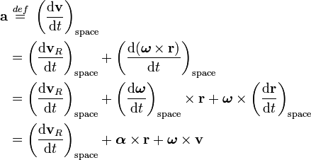 \begin{align}\mathbf{ a} & \ \stackrel{def}{=}\  \left(\frac{\mathrm{d}\mathbf{v}}{\mathrm{d}t}\right)_{\mathrm{space}} \\  & =\left(\frac{\mathrm{d}\mathbf{v}_R}{\mathrm{d}t}\right)_{\mathrm{space}}  +\left(\frac{\mathrm{d}(\boldsymbol{\omega}\times\mathbf{r})}{\mathrm{d}t}\right)_{\mathrm{space}} \\  & =\left(\frac{\mathrm{d}\mathbf{v}_R}{\mathrm{d}t}\right)_{\mathrm{space}} +\left(\frac{\mathrm{d}\boldsymbol{\omega}}{\mathrm{d}t}\right)_{\mathrm{space}}\times\mathbf{r} +\boldsymbol{\omega}\times\left(\frac{\mathrm{d}\mathbf{r}}{\mathrm{d}t}\right)_{\mathrm{space}} \\  & =\left(\frac{\mathrm{d}\mathbf{v}_R}{\mathrm{d}t}\right)_{\mathrm{space}} +\boldsymbol{\alpha}\times\mathbf{r} +\boldsymbol{\omega}\times\mathbf{v} \\ \end{align}