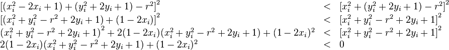 \begin{array}{lcl} \left [ (x_i^2 - 2 x_i + 1) + (y_i^2 + 2 y_i + 1) - r^2 \right ]^2 & < & \left [ x_i^2 + (y_i^2 + 2 y_i + 1) - r^2 \right ]^2 \\ \left [ (x_i^2 + y_i^2 - r^2 + 2 y_i + 1) + (1 - 2 x_i) \right ]^2 & < & \left [ x_i^2 + y_i^2 - r^2 + 2 y_i + 1 \right ]^2 \\ \left ( x_i^2 + y_i^2 - r^2 + 2 y_i + 1 \right )^2 + 2 (1 - 2 x_i) (x_i^2 + y_i^2 - r^2 + 2 y_i + 1) + (1 - 2 x_i)^2 & < & \left [ x_i^2 + y_i^2 - r^2 + 2 y_i + 1 \right ]^2 \\ 2 (1 - 2 x_i) (x_i^2 + y_i^2 - r^2 + 2 y_i + 1) + (1 - 2 x_i)^2 & < & 0 \\ \end{array}
