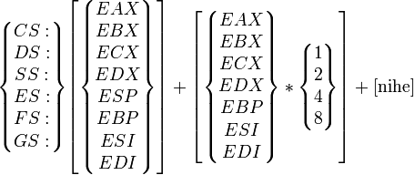 \begin{Bmatrix}CS:\\DS:\\SS:\\ES:\\FS:\\GS:\end{Bmatrix} \begin{bmatrix}\begin{Bmatrix}EAX\\EBX\\ECX\\EDX\\ESP\\EBP\\ESI\\EDI\end{Bmatrix}\end{bmatrix} +  \begin{bmatrix}\begin{Bmatrix}EAX\\EBX\\ECX\\EDX\\EBP\\ESI\\EDI\end{Bmatrix}*\begin{Bmatrix}1\\2\\4\\8\end{Bmatrix}\end{bmatrix} + \rm [nihe]