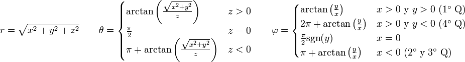 r = \sqrt{x^2 + y^2+z^2}\qquad \theta= \begin{cases} \arctan\left(\frac{\sqrt{x^2+y^2}}{z}\right) & z>0 \\ \frac{\pi}{2} & z = 0 \\  \pi+\arctan\left(\frac{\sqrt{x^2+y^2}}{z}\right) & z<0 \end{cases} \qquad \varphi=\begin{cases} \arctan\left(\frac{y}{x}\right) & x>0\mbox{ y } y>0 \mbox{ (1° Q)}\\  2\pi+\arctan\left(\frac{y}{x}\right)&   x>0 \mbox{ y } y<0 \mbox{ (4° Q)}\\ \frac{\pi}{2}\mbox{sgn}(y) & x = 0\\ \pi+\arctan\left(\frac{y}{x}\right) & x<0 \mbox{ (2° y 3° Q)}\end{cases}