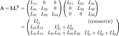 \begin{align} {\mathbf{A=LL^T}} & = \begin{pmatrix}   L_{11} & 0 & 0 \\    L_{21} & L_{22} & 0 \\    L_{31} & L_{32} & L_{33}\\ \end{pmatrix} \begin{pmatrix}   L_{11} & L_{21} & L_{31} \\    0 & L_{22} & L_{32} \\    0 & 0 & L_{33} \end{pmatrix} \\ & = \begin{pmatrix}   L_{11}^2 &   &(\text{symmetric})   \\    L_{21}L_{11} & L_{21}^2 + L_{22}^2& \\    L_{31}L_{11} & L_{31}L_{21}+L_{32}L_{22} & L_{31}^2 + L_{32}^2+L_{33}^2 \end{pmatrix} \end{align}
