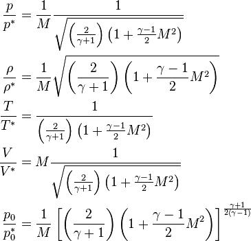 begin{align} frac{p}{p^*} &= frac{1}{M}frac{1}{sqrt{left(frac{2}{gamma + 1}right)left(1 + frac{gamma - 1}{2}M^2right)}} \ frac{rho}{rho^*} &= frac{1}{M}sqrt{left(frac{2}{gamma + 1}right)left(1 + frac{gamma - 1}{2}M^2right)} \ frac{T}{T^*} &= frac{1}{left(frac{2}{gamma + 1}right)left(1 + frac{gamma - 1}{2}M^2right)} \ frac{V}{V^*} &= Mfrac{1}{sqrt{left(frac{2}{gamma + 1}right)left(1 + frac{gamma - 1}{2}M^2right)}} \ frac{p_0}{p_0^*} &= frac{1}{M}left^frac{gamma + 1}{2left(gamma - 1right)} end{align}