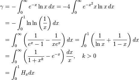\begin{align}\gamma &= - \int_0^\infty { e^{-x} \ln x }\,dx = -4\int_0^\infty { e^{-x^2} x \ln x }\,dx\\  &= -\int_0^1 \ln\ln\left (\frac{1}{x}\right) dx \\  &= \int_0^\infty \left (\frac1{e^x-1}-\frac1{xe^x} \right)dx = \int_0^1\left(\frac 1{\ln x} + \frac 1{1-x}\right)dx\\  &= \int_0^\infty \left (\frac1{1+x^k}-e^{-x} \right)\frac{dx}{x},\quad k>0\\  &= \int_0^1 H_{x} dx \end{align}