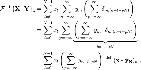 \begin{align} \mathcal{F}^{-1} \left \{ \mathbf{X\cdot Y} \right \}_n &= \sum_{l=0}^{N-1} x_l \sum_{m=-\infty}^{\infty} y_m \left( \sum_{p=-\infty}^{\infty}  \delta_{m,(n-l-pN)} \right) \\  &= \sum_{l=0}^{N-1} x_l \sum_{p=-\infty}^{\infty}  \underbrace{\left(\sum_{m=-\infty}^{\infty} y_m \cdot \delta_{m,(n-l-pN)}\right)}_{y_{n-l-pN}} \\  &= \sum_{l=0}^{N-1} x_l \left(\sum_{p=-\infty}^{\infty} y_{n-l-pN}\right) \ \stackrel{\mathrm{def}}{=} \ (\mathbf{x * y_N})_n\ ,  \end{align}