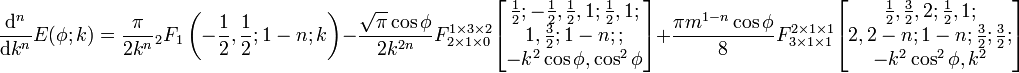 \frac{{\rm{d}}^n}{{\rm{d}}k^n}E(\phi;k)=\frac{\pi}{2k^n}{}_2F_1\left(-\frac{1}{2},\frac{1}{2};1-n;k\right)-\frac{\sqrt\pi\cos\phi}{2k^{2n}} F_{2\times 1 \times0}^{1\times 3 \times2} \begin{bmatrix} \frac{1}{2};-\frac{1}{2},\frac{1}{2},1;\frac{1}{2},1;\\  1,\frac{3}{2};1-n;;\\  -k^2\cos\phi,\cos^2\phi \end{bmatrix}+\frac{\pi m^{1-n}\cos\phi}{8}F_{3\times 1 \times1}^{2\times 1 \times1} \begin{bmatrix} \frac{1}{2},\frac{3}{2},2;\frac{1}{2},1;\\  2,2-n;1-n;\frac{3}{2};\frac{3}{2};\\  -k^2\cos^2\phi,k^2 \end{bmatrix} \,\!