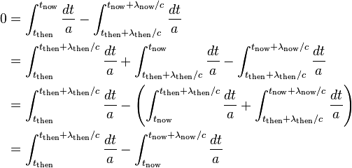 \begin{align} 0 & = \int_{t_\mathrm{then}}^{t_\mathrm{now}} \frac{dt}{a} - \int_{t_\mathrm{then}+\lambda_\mathrm{then}/c}^{t_\mathrm{now}+\lambda_\mathrm{now}/c} \frac{dt}{a} \\ & = \int_{t_\mathrm{then}}^{t_\mathrm{then}+\lambda_\mathrm{then}/c}\frac{dt}{a}+\int_{t_\mathrm{then}+\lambda_\mathrm{then}/c}^{t_\mathrm{now}}\frac{dt}{a}- \int_{t_\mathrm{then}+\lambda_\mathrm{then}/c}^{t_\mathrm{now}+\lambda_\mathrm{now}/c} \frac{dt}{a} \\ & = \int_{t_\mathrm{then}}^{t_\mathrm{then}+\lambda_\mathrm{then}/c}\frac{dt}{a}-\left(\int_{t_\mathrm{now}}^{t_\mathrm{then}+\lambda_\mathrm{then}/c}\frac{dt}{a}+\int_{t_\mathrm{then}+\lambda_\mathrm{then}/c}^{t_\mathrm{now}+\lambda_\mathrm{now}/c} \frac{dt}{a}\right) \\ & = \int_{t_\mathrm{then}}^{t_\mathrm{then}+\lambda_\mathrm{then}/c}\frac{dt}{a}-\int_{t_\mathrm{now}}^{t_\mathrm{now}+\lambda_\mathrm{now}/c}\frac{dt}{a} \end{align}