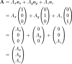 \begin{align} \mathbf{A} & = A_x \mathbf{e}_x + A_y \mathbf{e}_y + A_z \mathbf{e}_z \\  & = A_x \begin{pmatrix} 1 \\ 0 \\ 0 \end{pmatrix} + A_y \begin{pmatrix} 0 \\ 1 \\ 0 \end{pmatrix} + A_z \begin{pmatrix} 0 \\ 0 \\ 1 \end{pmatrix} \\ & = \begin{pmatrix} A_x \\ 0 \\ 0 \end{pmatrix} + \begin{pmatrix} 0 \\ A_y \\ 0 \end{pmatrix} + \begin{pmatrix} 0 \\ 0 \\ A_z \end{pmatrix} \\ & = \begin{pmatrix} A_x \\ A_y \\ A_z \\ \end{pmatrix}  \end{align}