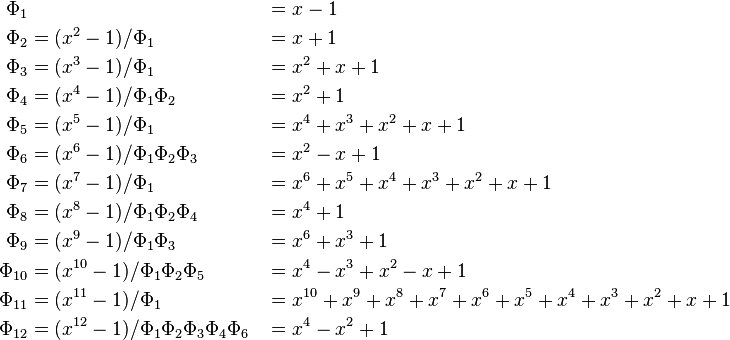 \begin{align} \Phi_{1} &&&= x-1 \\ \Phi_{2} &= (x^2-1)/\Phi_1 &&= x+1\\ \Phi_{3} &= (x^3-1)/\Phi_1 &&= x^2+x+1\\ \Phi_{4} &= (x^4-1)/\Phi_1\Phi_2 &&= x^2+1\\ \Phi_{5} &= (x^5-1)/\Phi_1 &&= x^4+x^3+x^2+x+1\\ \Phi_{6} &= (x^6-1)/\Phi_1\Phi_2\Phi_3 &&= x^2-x+1\\ \Phi_{7} &= (x^7-1)/\Phi_1 &&= x^6+x^5+x^4+x^3+x^2+x+1\\ \Phi_{8} &= (x^8-1)/\Phi_1\Phi_2\Phi_4 &&= x^4+1\\ \Phi_{9} &= (x^9-1)/\Phi_1\Phi_3 &&= x^6+x^3+1\\ \Phi_{10} &= (x^{10}-1)/\Phi_1\Phi_2\Phi_5 &&= x^4-x^3+x^2-x+1\\ \Phi_{11} &= (x^{11}-1)/\Phi_1 &&= x^{10}+x^9+x^8+x^7+x^6+x^5+x^4+x^3+x^2+x+1\\ \Phi_{12} &= (x^{12}-1)/\Phi_1\Phi_2\Phi_3\Phi_4\Phi_6 &&= x^4-x^2+1\\ \end{align}