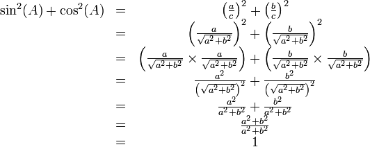\begin{matrix}\sin^2(A) + \cos^2(A) & = & \left( \frac{a}{c} \right)^2 + \left( \frac{b}{c} \right)^2 \\ \ & = & \left ( \frac{a}{\sqrt{a^2 + b^2}} \right )^2 + \left ( \frac{b}{\sqrt{a^2 + b^2}} \right )^2 \\ \ & = & \left ( \frac{a}{\sqrt{a^2 + b^2}} \times \frac{a}{\sqrt{a^2 + b^2}} \right ) + \left ( \frac{b}{\sqrt{a^2 + b^2}} \times \frac{b}{\sqrt{a^2 + b^2}} \right ) \\ \ & = & \frac{a^2}{\left(\sqrt{a^2 + b^2}\right)^2} + \frac{b^2}{\left(\sqrt{a^2 + b^2}\right)^2} \\ \ & = & \frac{a^2}{a^2 + b^2} + \frac{b^2}{a^2 + b^2} \\ \ & = & \frac{a^2 + b^2}{a^2 + b^2} \\ \ & = & 1\end{matrix}