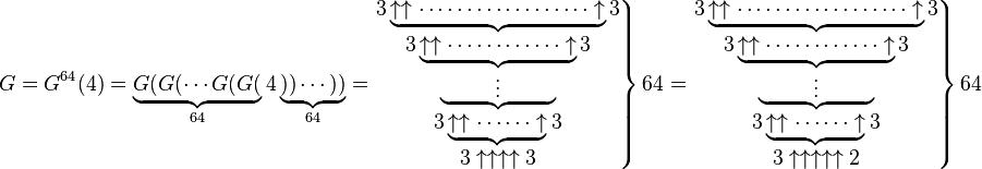 G = G^{64} (4) = \underbrace{G(G(\cdots G(G(}_{64}4\underbrace{))\cdots))}_{64}= \left.  \begin{matrix}   3\underbrace{\uparrow \uparrow \cdots\cdots\cdots\cdots \cdots \cdots \uparrow}3 \\   3\underbrace{\uparrow \uparrow \cdots\cdots\cdots\cdots \uparrow}3 \\   \underbrace{\qquad\;\; \vdots \qquad\;\;} \\   3\underbrace{\uparrow \uparrow \cdots\cdots \uparrow}3 \\   3\uparrow \uparrow \uparrow \uparrow3  \end{matrix} \right \} 64= \left.  \begin{matrix}   3\underbrace{\uparrow \uparrow \cdots\cdots\cdots\cdots \cdots \cdots \uparrow}3 \\   3\underbrace{\uparrow \uparrow \cdots\cdots\cdots\cdots \uparrow}3 \\   \underbrace{\qquad\;\; \vdots \qquad\;\;} \\   3\underbrace{\uparrow \uparrow \cdots\cdots \uparrow}3 \\   3\uparrow \uparrow \uparrow \uparrow \uparrow2  \end{matrix} \right \} 64
