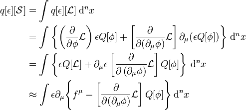 \begin{align} q[\epsilon][\mathcal{S}] & = \int q[\epsilon][\mathcal{L}] \, \mathrm{d}^n x  \\ & = \int \left\{ \left(\frac{\partial}{\partial \phi}\mathcal{L}\right) \epsilon Q[\phi]+ \left[\frac{\partial}{\partial (\partial_\mu \phi)}\mathcal{L}\right]\partial_\mu(\epsilon Q[\phi]) \right\} \, \mathrm{d}^n x \\ & = \int \left\{ \epsilon Q[\mathcal{L}] + \partial_{\mu}\epsilon \left[\frac{\partial}{\partial \left( \partial_{\mu} \phi\right)} \mathcal{L} \right] Q[\phi] \right\} \, \mathrm{d}^n x \\ & \approx \int \epsilon \partial_\mu \Bigg\{f^\mu-\left[\frac{\partial}{\partial (\partial_\mu\phi)}\mathcal{L}\right]Q[\phi]\Bigg\} \, \mathrm{d}^n x \end{align}