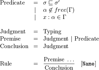 \begin{array}{lrl}   \text{Predicate}  & =      &\sigma\sqsubseteq\sigma'\\                     & \vert\ &\alpha\not\in free(\Gamma)\\                     & \vert\ &x:\alpha\in \Gamma\\ \\   \text{Judgment}   & =      &\text{Typing}\\   \text{Premise}    & =      &\text{Judgment}\ \vert\ \text{Predicate}\\   \text{Conclusion} & =      &\text{Judgment}\\ \\   \text{Rule}       & =      &\displaystyle\frac{\textrm{Premise}\ \dots}{\textrm{Conclusion}}\quad [\mathtt{Name}] \end{array}