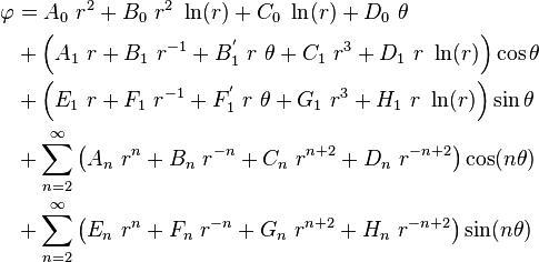 \begin{align}    \varphi &= A_0~r^2 + B_0~r^2~\ln(r) + C_0~\ln(r) + D_0~\theta \\       & + \left(A_1~r + B_1~r^{-1} + B_1^{'}~r~\theta + C_1~r^3 +        D_1~r~\ln(r)\right) \cos\theta \\       & + \left(E_1~r + F_1~r^{-1} + F_1^{'}~r~\theta + G_1~r^3 +        H_1~r~\ln(r)\right) \sin\theta \\       & + \sum_{n=2}^{\infty} \left(A_n~r^n + B_n~r^{-n} + C_n~r^{n+2} + D_n~r^{-n+2}\right)\cos(n\theta) \\       & + \sum_{n=2}^{\infty} \left(E_n~r^n + F_n~r^{-n} + G_n~r^{n+2} + H_n~r^{-n+2}\right)\sin(n\theta)    \end{align}