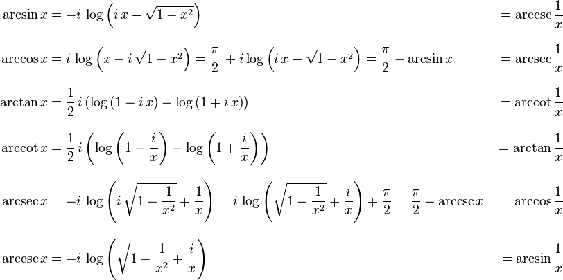 \begin{align} \arcsin x &{}= -i\,\log\left(i\,x+\sqrt{1-x^2}\right) &{}= \arccsc \frac{1}{x}\\[10pt] \arccos x &{}= i\,\log\left(x-i\,\sqrt{1-x^2}\right) = \frac{\pi}{2}\,+i\log\left(i\,x+\sqrt{1-x^2}\right) = \frac{\pi}{2}-\arcsin x &{}= \arcsec \frac{1}{x}\\[10pt] \arctan x &{}= \frac{1}{2}\,i\left(\log\left(1-i\,x\right)-\log\left(1+i\,x\right)\right) &{}= \arccot \frac{1}{x}\\[10pt] \arccot x &{}= \frac{1}{2}\,i\left(\log\left(1-\frac{i}{x}\right)-\log\left(1+\frac{i}{x}\right)\right) &{}= \arctan \frac{1}{x}\\[10pt] \arcsec x &{}= -i\,\log\left(i\,\sqrt{1-\frac{1}{x^2}}+\frac{1}{x}\right) = i\,\log\left(\sqrt{1-\frac{1}{x^2}}+\frac{i}{x}\right)+\frac{\pi}{2} = \frac{\pi}{2}-\arccsc x &{}= \arccos \frac{1}{x}\\[10pt] \arccsc x &{}= -i\,\log\left(\sqrt{1-\frac{1}{x^2}}+\frac{i}{x}\right) &{}= \arcsin \frac{1}{x} \end{align}