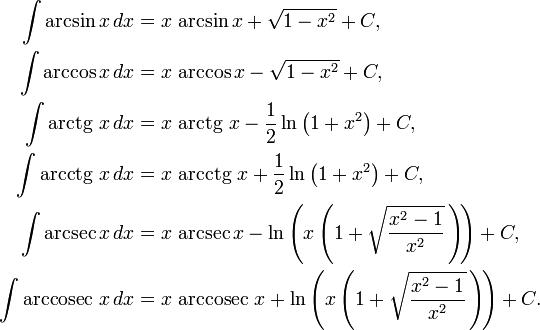 таблица арксинусов и арккосинусов арктангенсов арккотангенсов
