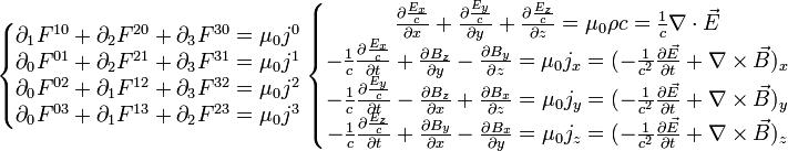 \left\{\begin{matrix} \partial_{1}F^{10}+\partial_{2}F^{20}+\partial_{3}F^{30}=\mu_{0}j^0\\ \partial_{0}F^{01}+\partial_{2}F^{21}+\partial_{3}F^{31}=\mu_{0}j^1\\ \partial_{0}F^{02}+\partial_{1}F^{12}+\partial_{3}F^{32}=\mu_{0}j^2\\ \partial_{0}F^{03}+\partial_{1}F^{13}+\partial_{2}F^{23}=\mu_{0}j^3 \end{matrix}\right. \left\{\begin{matrix} \frac{{\partial}\frac{E_x}{c}}{{\partial}x}+\frac{{\partial}\frac{E_y}{c}}{{\partial}y}+\frac{{\partial}\frac{E_z}{c}}{{\partial}z}=\mu_{0}{\rho}c=\frac{1}{c}\nabla\cdot\vec{E}\\ -\frac{1}{c}\frac{{\partial}\frac{E_x}{c}}{{\partial}t}+\frac{{\partial}B_z}{{\partial}y}-\frac{{\partial}B_y}{{\partial}z}=\mu_{0}j_x=(-\frac{1}{c^2}\frac{{\partial}\vec{E}}{{\partial}t}+\nabla\times\vec{B})_x\\ -\frac{1}{c}\frac{{\partial}\frac{E_y}{c}}{{\partial}t}-\frac{{\partial}B_z}{{\partial}x}+\frac{{\partial}B_x}{{\partial}z}=\mu_{0}j_y=(-\frac{1}{c^2}\frac{{\partial}\vec{E}}{{\partial}t}+\nabla\times\vec{B})_y\\ -\frac{1}{c}\frac{{\partial}\frac{E_z}{c}}{{\partial}t}+\frac{{\partial}B_y}{{\partial}x}-\frac{{\partial}B_x}{{\partial}y}=\mu_{0}j_z=(-\frac{1}{c^2}\frac{{\partial}\vec{E}}{{\partial}t}+\nabla\times\vec{B})_z \end{matrix}\right.