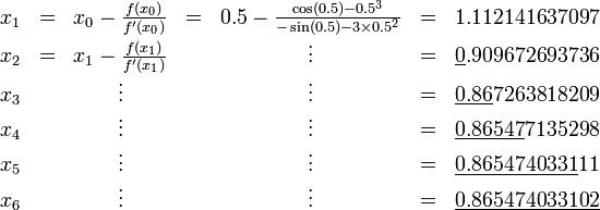 \begin{matrix}   x_1 & = & x_0 - \frac{f(x_0)}{f'(x_0)} & = & 0.5 - \frac{\cos(0.5) - 0.5^3}{-\sin(0.5) - 3 \times 0.5^2} & = & 1.112141637097 \\   x_2 & = & x_1 - \frac{f(x_1)}{f'(x_1)} & & \vdots & = & \underline{0}.909672693736 \\   x_3 & & \vdots & & \vdots & = & \underline{0.86}7263818209 \\   x_4 & & \vdots & & \vdots & = & \underline{0.86547}7135298 \\   x_5 & & \vdots & & \vdots & = & \underline{0.8654740331}11 \\   x_6 & & \vdots & & \vdots & = & \underline{0.865474033102} \end{matrix}