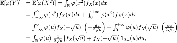 \begin{array}{rl} \mathbb{E}[\varphi(Y)] &= \mathbb{E}[\varphi(X^2)]  = \int_{\mathbb{R}}\varphi(x^2)f_X(x)dx \\[7pt] &= \int_{-\infty}^{0}\varphi(x^2)f_X(x)dx+\int_{0}^{+\infty}\varphi(x^2)f_X(x)dx \\[7pt] &= \int_{+\infty}^{0}\varphi(u)f_X(-\sqrt{u})\ \left(-\frac{du}{2\sqrt{u}}\right)+ \int_{0}^{+\infty}\varphi(u)f_X(\sqrt{u})\ \left(\frac{du}{2\sqrt{u}}\right) \\[7pt] &= \int_{\mathbb{R}}\varphi(u)\ \frac{1}{2\sqrt{u}} \left[f_X(\sqrt{u}) + f_X(-\sqrt{u})\right] 1_{\mathbb{R}_+}(u)du, \end{array}