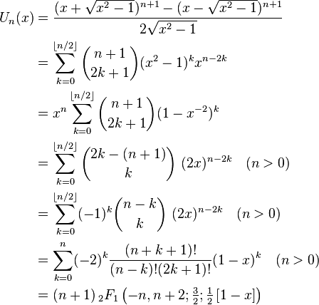 \begin{align} U_n(x) & = \frac{(x+\sqrt{x^2-1})^{n+1} - (x-\sqrt{x^2-1})^{n+1}}{2\sqrt{x^2-1}} \\ & = \sum_{k=0}^{\lfloor n/2\rfloor} \binom{n+1}{2k+1} (x^2-1)^k x^{n-2k} \\ & = x^n \sum_{k=0}^{\lfloor n/2\rfloor} \binom{n+1}{2k+1} (1 - x^{-2})^k \\ & =\sum_{k=0}^{\lfloor n/2\rfloor} \binom{2k-(n+1)}{k}~(2x)^{n-2k} \quad (n>0)\\ & =\sum_{k=0}^{\lfloor n/2\rfloor}(-1)^k \binom{n-k}{k}~(2x)^{n-2k} \quad (n>0)\\ & = \sum_{k=0}^{n}(-2)^{k} \frac{(n+k+1)!} {(n-k)!(2k+1)!}(1 - x)^k \quad (n>0)\\ & = (n+1) \, _2F_1\left(-n,n+2; \tfrac{3}{2}; \tfrac{1}{2}\left[1-x\right] \right) \end{align}