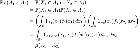 \begin{align} \mathbb{P}_{X}(A_1\times A_2) &= \mathbb{P}(X_1\in A_1\text{ et }X_2\in A_2)\\ &= \mathbb{P}(X_1\in A_1)\mathbb{P}(X_2\in A_2)\\ &= \left(\int_{\R} 1_{A_1}(x_1)f_1(x_1) \, dx_1\right)\left(\int_{\R} 1_{A_2}(x_2)f_2(x_2) \, dx_2\right)\\ &= \int_{\R^2} 1_{A_1\times A_2}(x_1,x_2)f_1(x_1)f_2(x_2) \, dx_1 \, dx_2\\ &= \mu(A_1\times A_2)\end{align}.