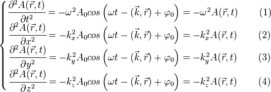 \left \{ \begin{matrix} \cfrac {\partial^2 A(\vec{r},t)} {\partial t^2} = -\omega^2 A_0 cos \left( \omega t - (\vec{k},\vec{r}) + \varphi_0 \right) = - \omega^2 A(\vec{r},t) \qquad \left( 1 \right) \\ \cfrac {\partial^2 A(\vec{r},t)} {\partial x^2} = - k_x^2 A_0 cos \left( \omega t - (\vec{k},\vec{r}) + \varphi_0 \right) = - k_x^2 A(\vec{r},t) \qquad \left( 2 \right) \\\cfrac {\partial^2 A(\vec{r},t)} {\partial y^2} = -k_y^2 A_0 cos \left( \omega t - (\vec{k},\vec{r}) + \varphi_0 \right) = - k_y^2 A(\vec{r},t) \qquad \left( 3 \right) \\ \cfrac {\partial^2 A(\vec{r},t)} {\partial z^2} = - k_z^2 A_0 cos \left( \omega t - (\vec{k},\vec{r}) + \varphi_0 \right) = -k_z^2 A(\vec{r},t) \qquad \left( 4 \right) \end{matrix} \right.