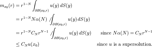 \begin{align} m_{x_0}(r) & = r^{1-N} \int_{\partial B(x_0,r)} u(y)\,dS(y)& \\ & = r^{1-N} N \alpha(N) \not\int_{\partial B(x_0,r)} u(y)\,dS(y) &\\ & = r^{1-N} C_N r^{N-1} \not\int_{\partial B(x_0,r)} u(y)\,dS(y) & \text{ since } N\alpha(N)=C_N r^{N-1}\\ &\leq C_N u(x_0) & \text{ since }u\text{ is a supersolution}. \end{align}