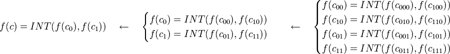 f(c) = INT(f(c_0), f(c_1)) \quad \gets \quad \begin{cases} f(c_0) = INT(f(c_{00}), f(c_{10})) \\ f(c_1) = INT(f(c_{01}), f(c_{11})) \end{cases} \quad \gets \quad \begin{cases} f(c_{00}) = INT(f(c_{000}), f(c_{100})) \\ f(c_{10}) = INT(f(c_{010}), f(c_{110})) \\ f(c_{01}) = INT(f(c_{001}), f(c_{101})) \\ f(c_{11}) = INT(f(c_{011}), f(c_{111})) \\ \end{cases}
