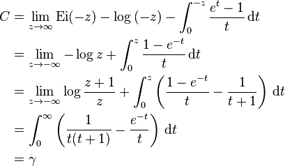 \begin{align}C &=\lim_{z\to\infty}\mathrm{Ei}(-z)-\log{(-z)}-\int_{0}^{-z}\frac{e^t-1}{t}\,\mathrm dt\\ &=\lim_{z\to-\infty}-\log{z}+\int_{0}^{z}\frac{1-e^{-t}}{t}\,\mathrm dt\\ &=\lim_{z\to-\infty}\log\frac{z+1}{z}+\int_{0}^{z}\left(\frac{1-e^{-t}}{t}-\frac{1}{t+1}\right)\,\mathrm dt\\ &=\int_{0}^{\infty}\left(\frac{1}{t(t+1)}-\frac{e^{-t}}{t}\right)\,\mathrm dt\\ &=\gamma \end{align}
