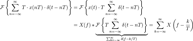 \begin{align} \mathcal{F}\left \{\sum_{n=-\infty}^{\infty} T\cdot x(nT) \cdot \delta(t-nT)\right \} &=\mathcal{F}\left \{x(t)\cdot T \sum_{n=-\infty}^{\infty} \delta(t-nT)\right \}\\ &= X(f) * \underbrace{\mathcal{F}\left \{T \sum_{n=-\infty}^{\infty} \delta(t-nT)\right \}}_{\sum_{k=-\infty}^{\infty} \delta (f - k/T)} = \sum_{k=-\infty}^{\infty} X\left(f - \frac{k}{T}\right) \end{align}