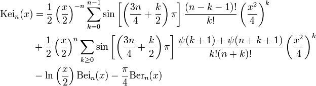 \begin{align}\mathrm{Kei}_n(x) & = \frac{1}{2} \left(\frac{x}{2}\right)^{-n} \sum_{k=0}^{n-1} \sin\left[\left(\frac{3n}{4} + \frac{k}{2}\right)\pi\right] \frac{(n-k-1)!}{k!} \left(\frac{x^2}{4}\right)^k \\ &+\frac{1}{2} \left(\frac{x}{2}\right)^n \sum_{k \geq 0} \sin\left[\left(\frac{3n}{4} + \frac{k}{2}\right)\pi\right] \frac{\psi(k+1) + \psi(n + k + 1)}{k! (n+k)!} \left(\frac{x^2}{4}\right)^k \\ & - \ln\left(\frac{x}{2}\right) \mathrm{Bei}_n(x) - \frac{\pi}{4}\mathrm{Ber}_n(x) \end{align}
