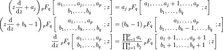 \begin { vicigi} \left (z\frac { { \rm { d} } } { { \rm { d} } z} + a_j \right) { } _pF_q\left [\begin { aro} { c} A1, \dots, a_j, \dots, a_p \ b_1, \dots, b_q\end { aro} ; z\right] & a_j '\'