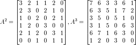 A^2=\begin{bmatrix} 3 & 2 & 1 & 1 & 2 & 0\\ 2 & 3 & 0 & 2 & 1 & 0\\ 1 & 0 & 2 & 0 & 2 & 1\\ 1 & 2 & 0 & 3 & 0 & 0\\ 2 & 1 & 2 & 0 & 3 & 1\\ 0 & 0 & 1 & 0 & 1 & 1\\ \end{bmatrix}, A^3=\begin{bmatrix} 7 & 6 & 3 & 3 & 6 & 1\\ 6 & 3 & 5 & 1 & 7 & 2\\ 3 & 5 & 0 & 5 & 1 & 0\\ 3 & 1 & 5 & 0 & 6 & 3\\ 6 & 7 & 1 & 6 & 3 & 0\\ 1 & 2 & 0 & 3 & 0 & 0\\ \end{bmatrix}
