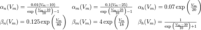 Hodgkin-Huxley functions